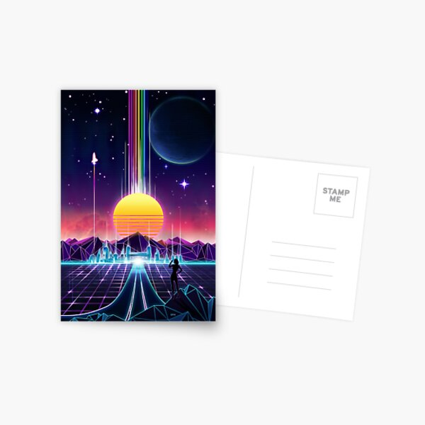 Neon Sunrise Postcard