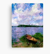 Summer landscape with boat Canvas Print