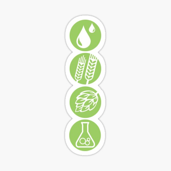 BEER: Water, Barley, Hops & Yeast Sticker