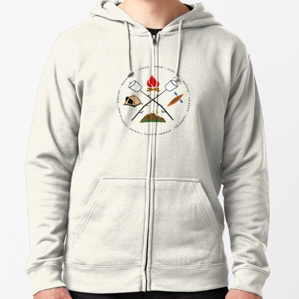 Campground Bonfire Marshmallow Rowboat Oar Lodge. Zipped Hoodie