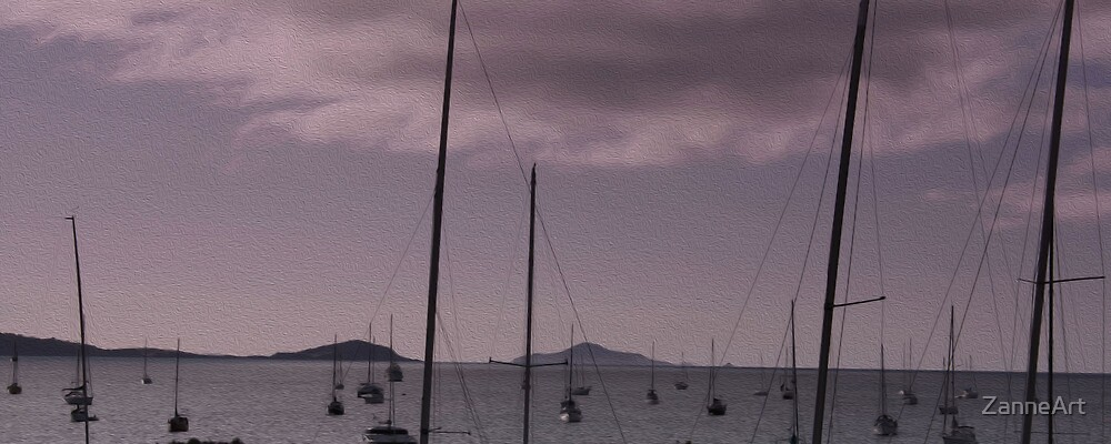 Ayrlie Beach Yachts as oil painting by ZanneArt