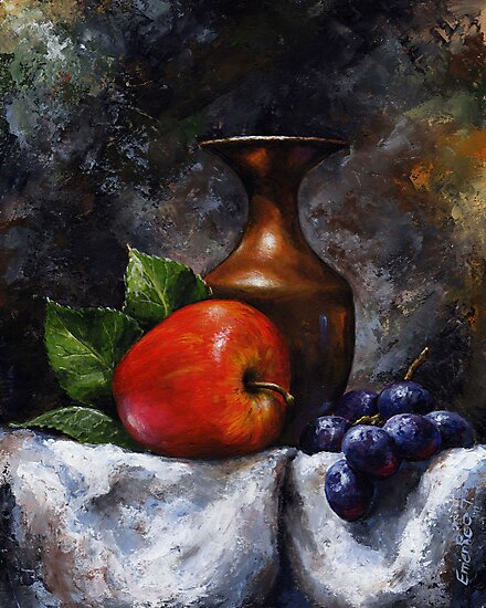 Apple and grapes - still life /23 by Imre Toth (Emerico)