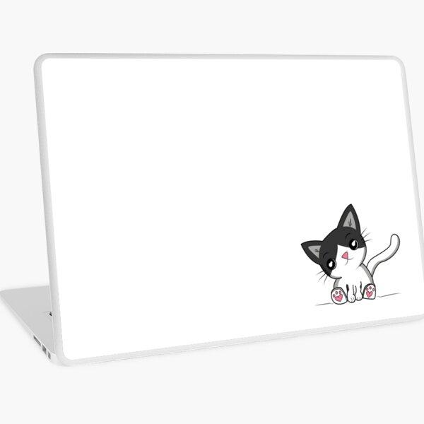 Cute cat - black and white Laptop Skin