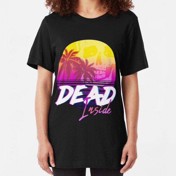 Dead Inside - Vaporwave Miami Aesthetic Spooky Mood Slim Fit T-Shirt