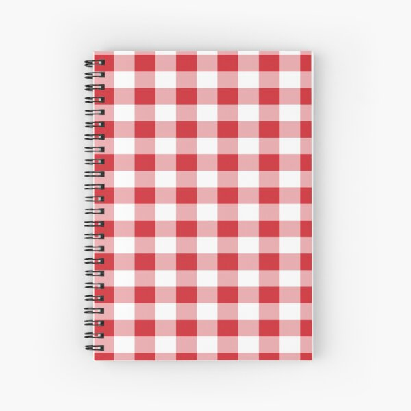 Red White Buffalo Plaid Gingham Spiral Notebook