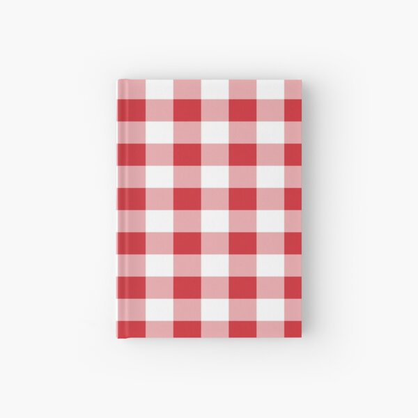 Red White Buffalo Plaid Gingham Hardcover Journal