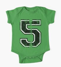 Bold Distressed Sports Number 5 One Piece - Short Sleeve