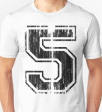 Bold Distressed Sports Number 5 Unisex T-Shirt