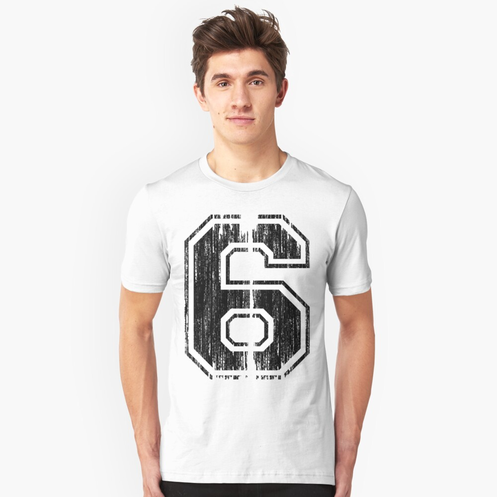 Bold Distressed Sports Number 6 Unisex T-Shirt Front