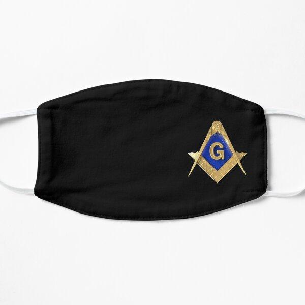 Freemason Gold Square & Compass Black Background Masonic Mask
