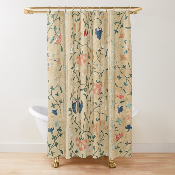 Uzbekistan Suzani Nim Embroidery Print Shower Curtain
