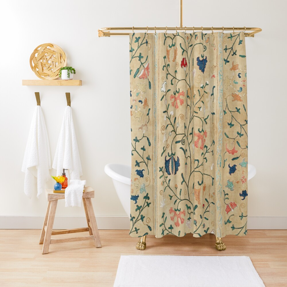 Uzbekistan Suzani Nim Embroidery Print Shower Curtain