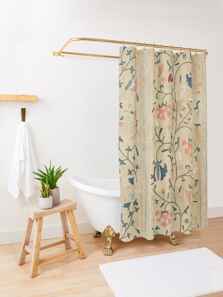 Alternate view of Uzbekistan Suzani Nim Embroidery Print Shower Curtain