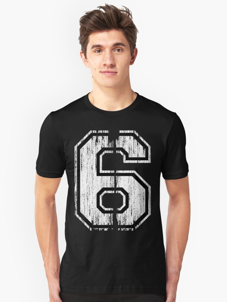 White Distressed Sports Number 6 Unisex T-Shirt Front