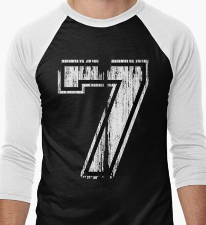 White Distressed Sports Number 7 T-Shirt