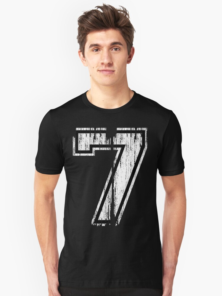 White Distressed Sports Number 7 Unisex T-Shirt Front