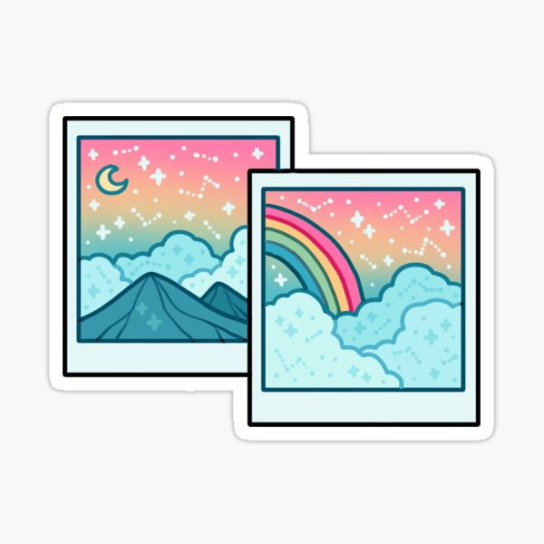 2 rainbow polaroids  Sticker