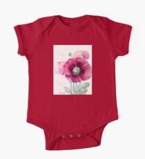 Pink Poppies One Piece - Short Sleeve