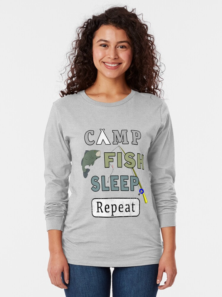 Alternate view of Camp Fish Sleep Repeat Campground Charter Slumber. Long Sleeve T-Shirt