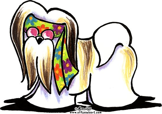 Lhasa Apso Hippie by offleashart