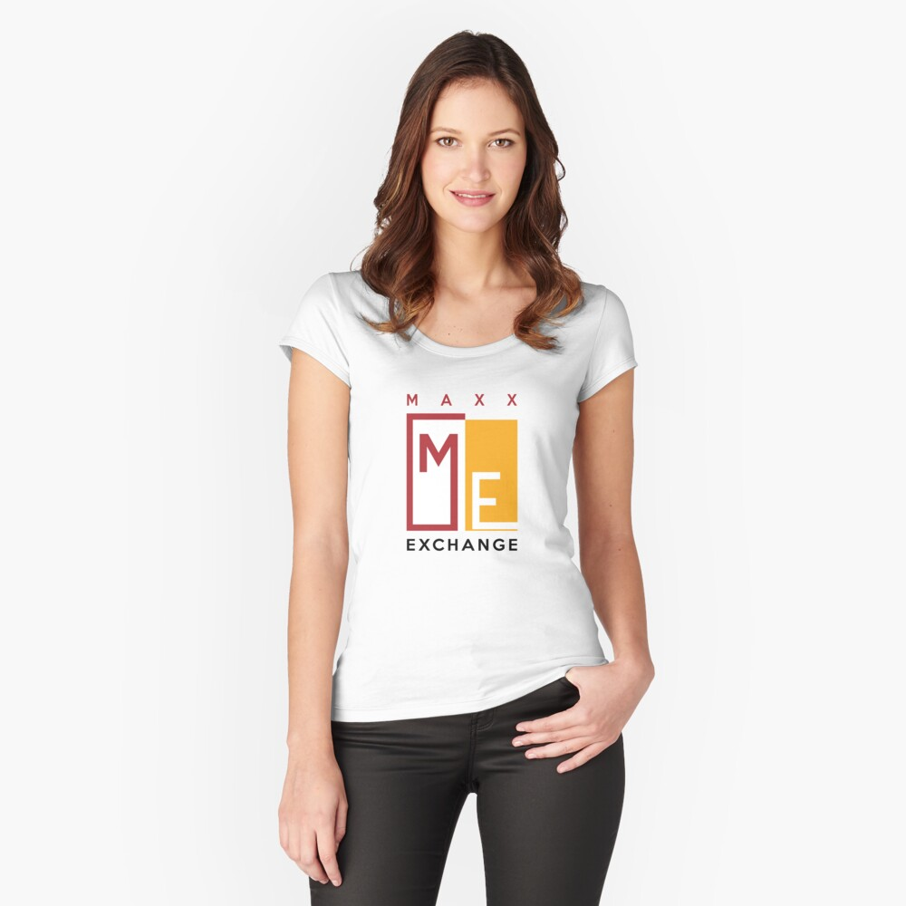 Maxx Exchange Brand Crimson and Gold Emblem Logo. Fitted Scoop T-Shirt