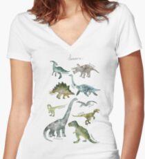 Camiseta entallada de cuello en V Dinosaurios