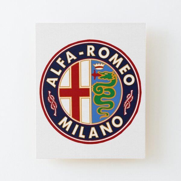 Antique Alfa-Romeo Classic Car Sign Wood Mounted Print