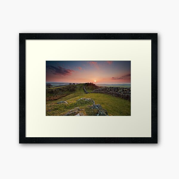 sunset hadrian's wall Framed Art Print