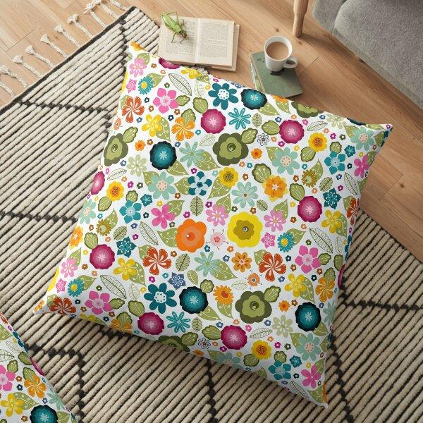 Multi-coloured Kitsch 70s Flowers Floor Pillow