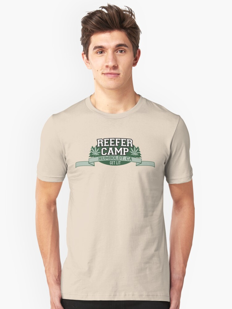 """Reefer Camp"" Marijuana Unisex T-Shirt Front"