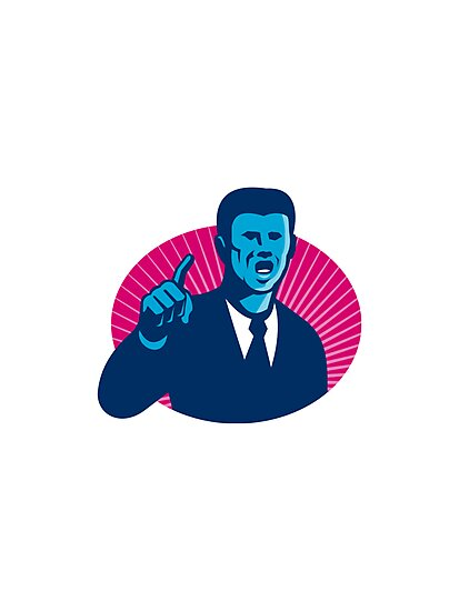 blue businessman politician pointing retro by retrovectors