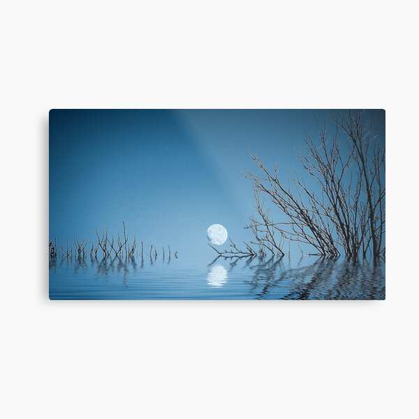 Moon on the Water(Blue) Metal Print