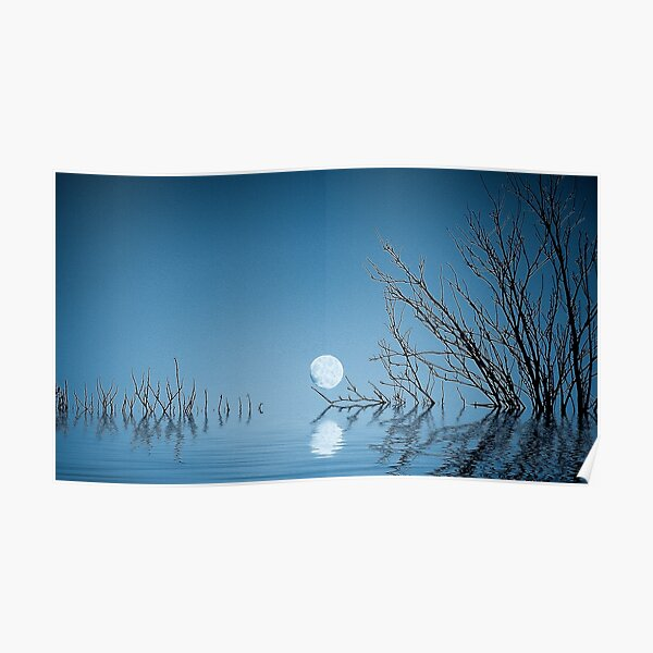 Moon on the Water(Blue) Poster