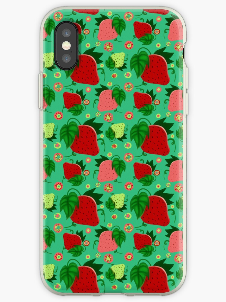 Red and Green Strawberries Pattern by SaradaBoru
