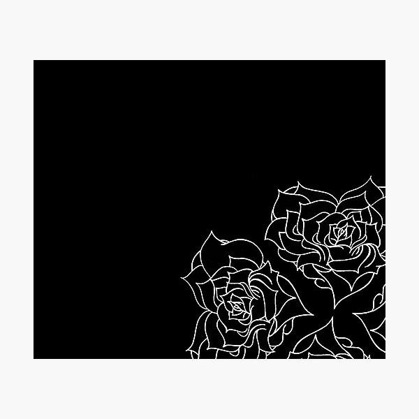 Minimal rose pattern - white on black Photographic Print