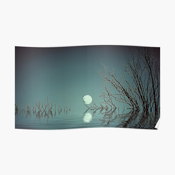 Dusk Moon on the Water Poster