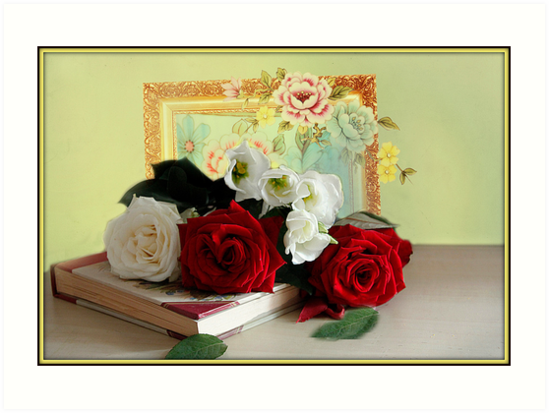 Roses and Lithianthus by Irene  Burdell