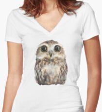Little Owl Women's Fitted V-Neck T-Shirt
