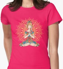 Yoga Om Chakras Mindfulness Meditation Zen 4 Women's Fitted T-Shirt