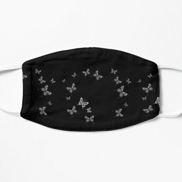Black butterfly print ,black mask , butterfly Flat Mask