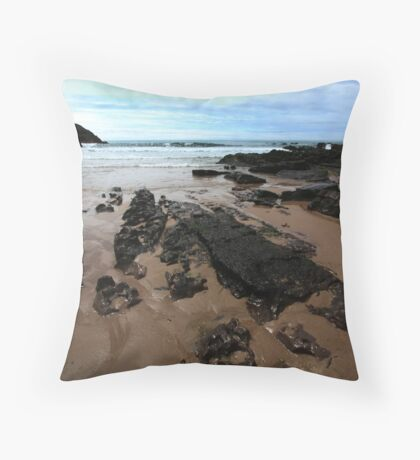 Rocks In Mewslade Bay - Wales Throw Pillow