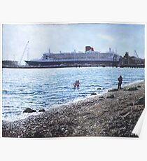Cunard Queen Mary at Weston shore, Southampton Poster