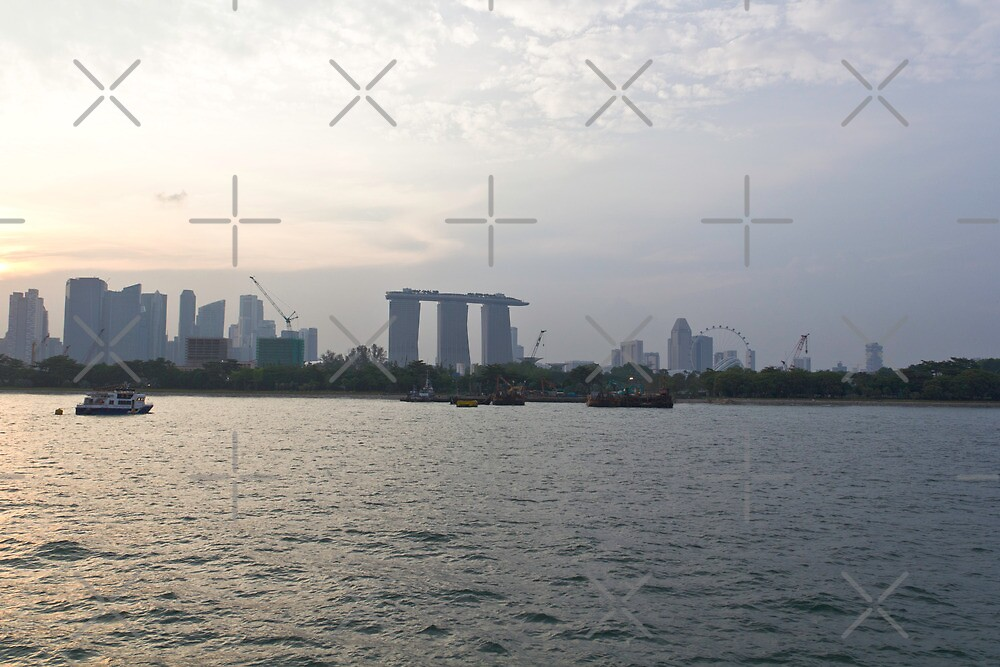Marina Bay Sands and Flyer along with Singapore skyline from the harbor cruise by ashishagarwal74
