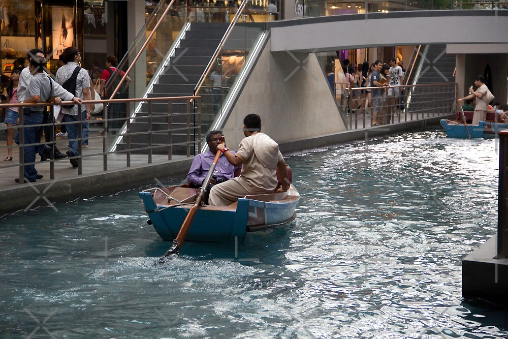 Canal running through the length of the Shoppes running under the Marina Bay Sands resort in Singapore by ashishagarwal74