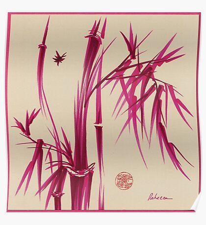 """Pink Gives Us Hope"" - Original sumi-e bamboo asian brush pen painting Poster"