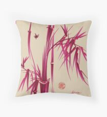 """Pink Gives Us Hope"" - Original sumi-e bamboo asian brush pen painting Throw Pillow"