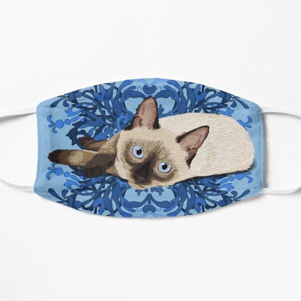 Elegant Blue Floral Siamese Cat Pretty Feline Mask