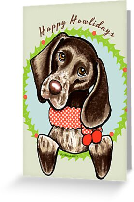 German Shorthaired Pointer Happy Howlidays by offleashart