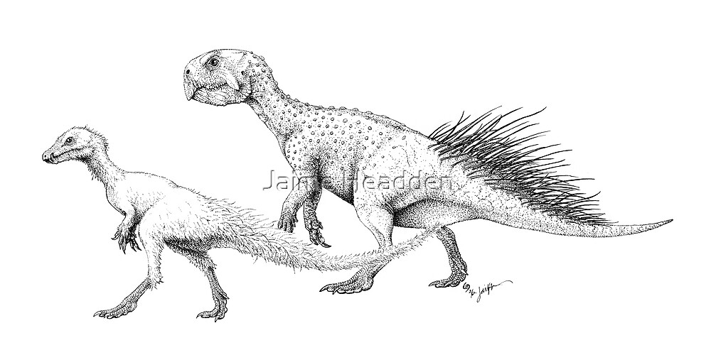 Ornithischians, Enquilled by Jaime Headden