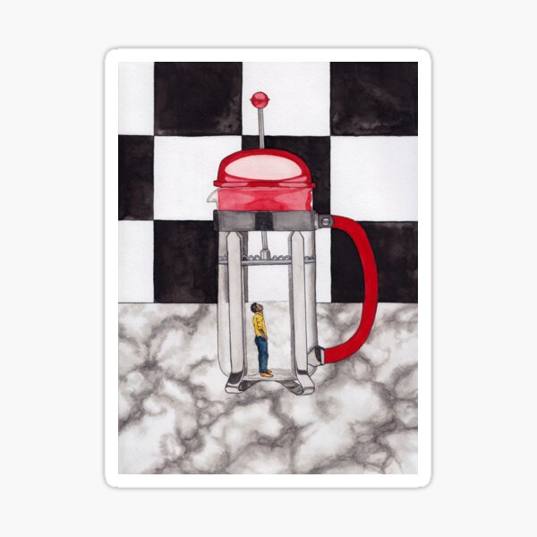 French Press Surrealist Painting for Coffee Lovers Sticker